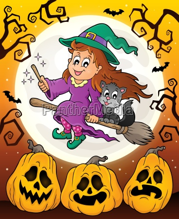 halloween theme with cute witch and