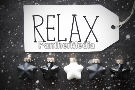 black christmas balls snowflakes text relax