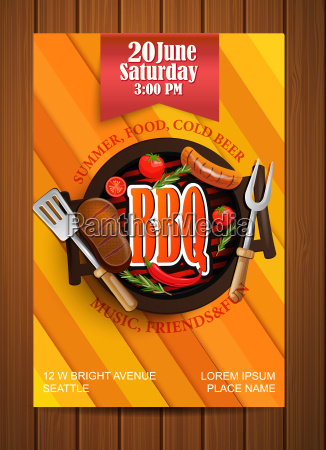 bbq grill flyer with elements