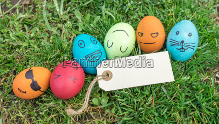 easter eggs with funny painted faces