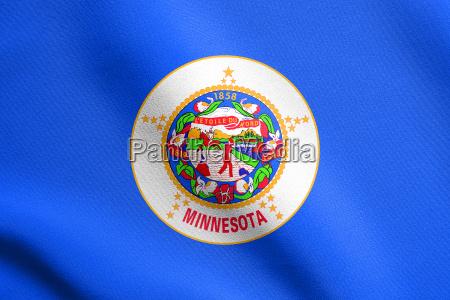 flag of minnesota waving with fabric