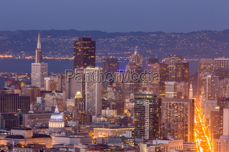 city lights of san francisco downtown