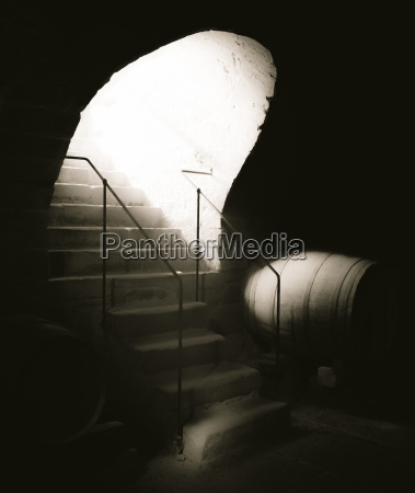 aged stone stairs and bright light