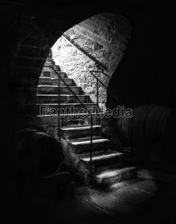 old cellar staircase in low light