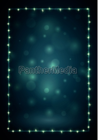 christmas frame with lights and blank