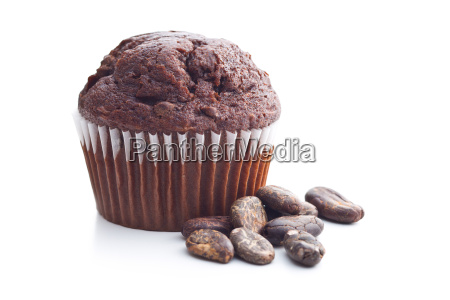 the tasty chocolate muffin and cocoa
