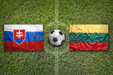 slovakia vs lithuania flags on soccer