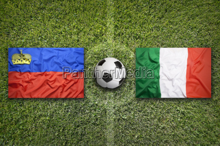 liechtenstein vs italy flags on soccer