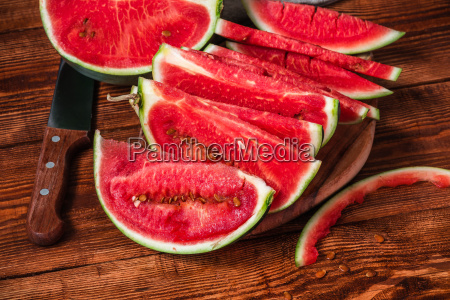 watermelon slices lying on the cutting
