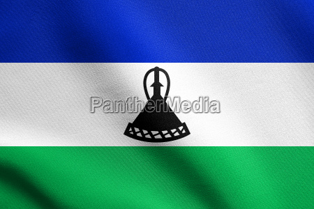 flag of lesotho waving with fabric