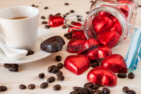 red chocolate hearts in a glass