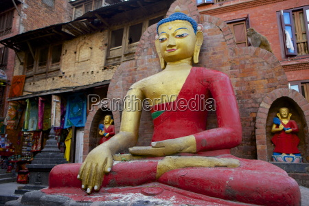 buddha statue swayambhunath monkey temple unesco