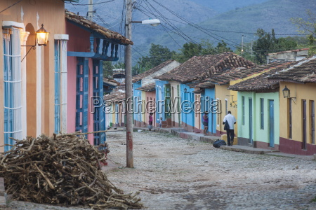 colourful street in historical center trinidad