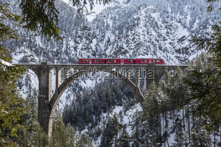 the bernina express crossing the wiesen