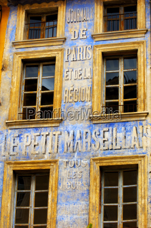 old newspaper mural advert provence france