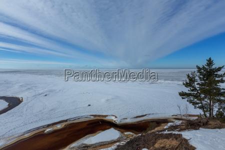 winter snow sea coast baltic sea