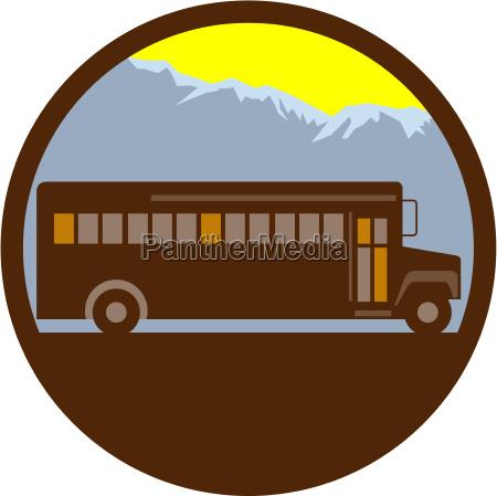 school bus vintage mountains circle retro