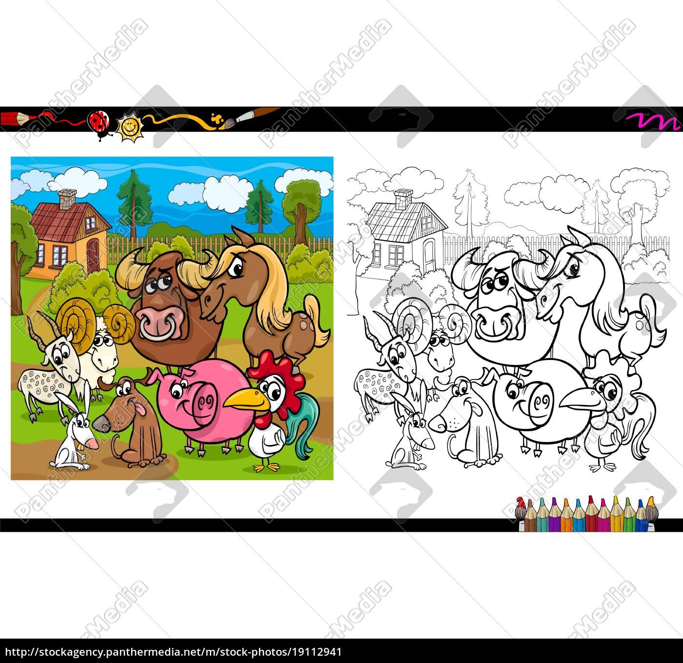 - Farm Animals Coloring Book - Stock Photo - #19112941
