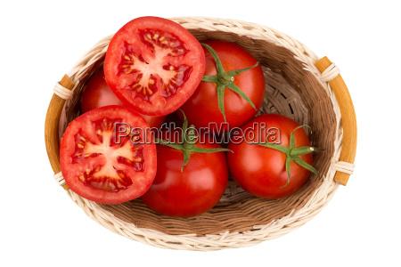 ripe, tomatoes, in, a, wicker, basket - 19112553