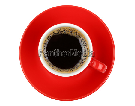 americano coffee in red cup isolated