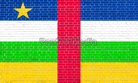 central african republic flag brick wall