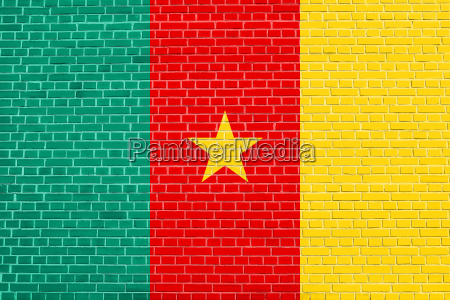 flag of cameroon on brick wall