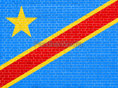 flag of dr congo on brick