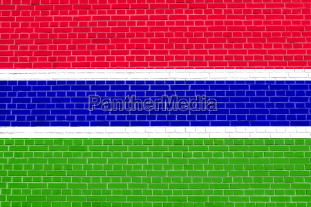 flag of the gambia brick wall