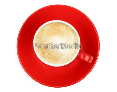 latte, cappuccino, coffee, red, cup, isolated - 19113789