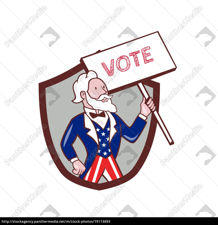 uncle, sam, american, placard, vote, crest - 19114693