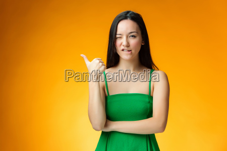 the, happy, chinese, girl, on, yellow - 19115619