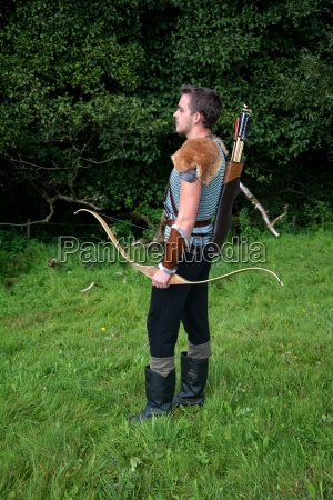 young medieval archer with chain mail