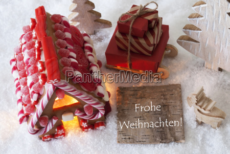 gingerbread house sled snow frohe weihnachten