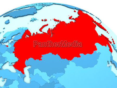 russia in red on blue globe