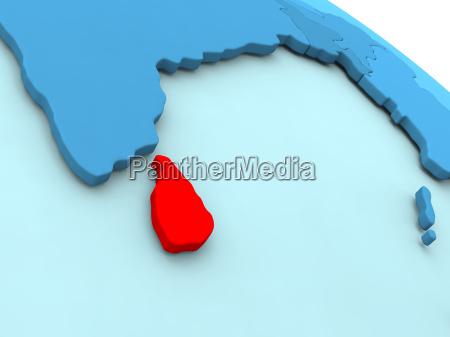 sri lanka in red on blue