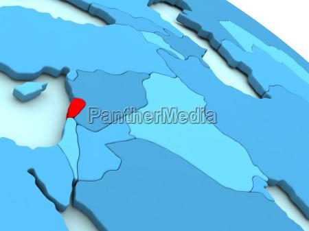 lebanon in red on blue globe