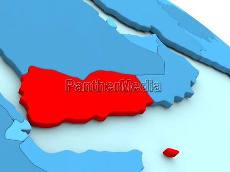 yemen in red on blue globe