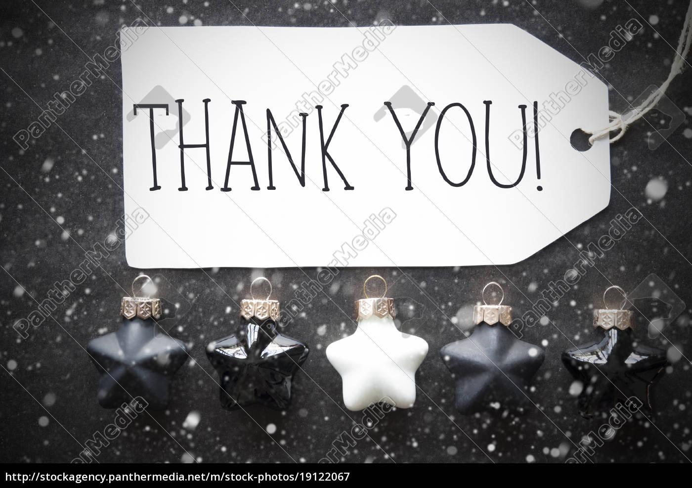 black, christmas, balls, , snowflakes, , text, thank - 19122067