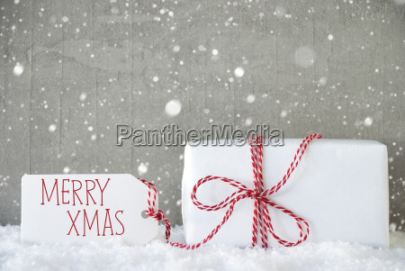 gift, , cement, background, with, snowflakes, , text - 19122013
