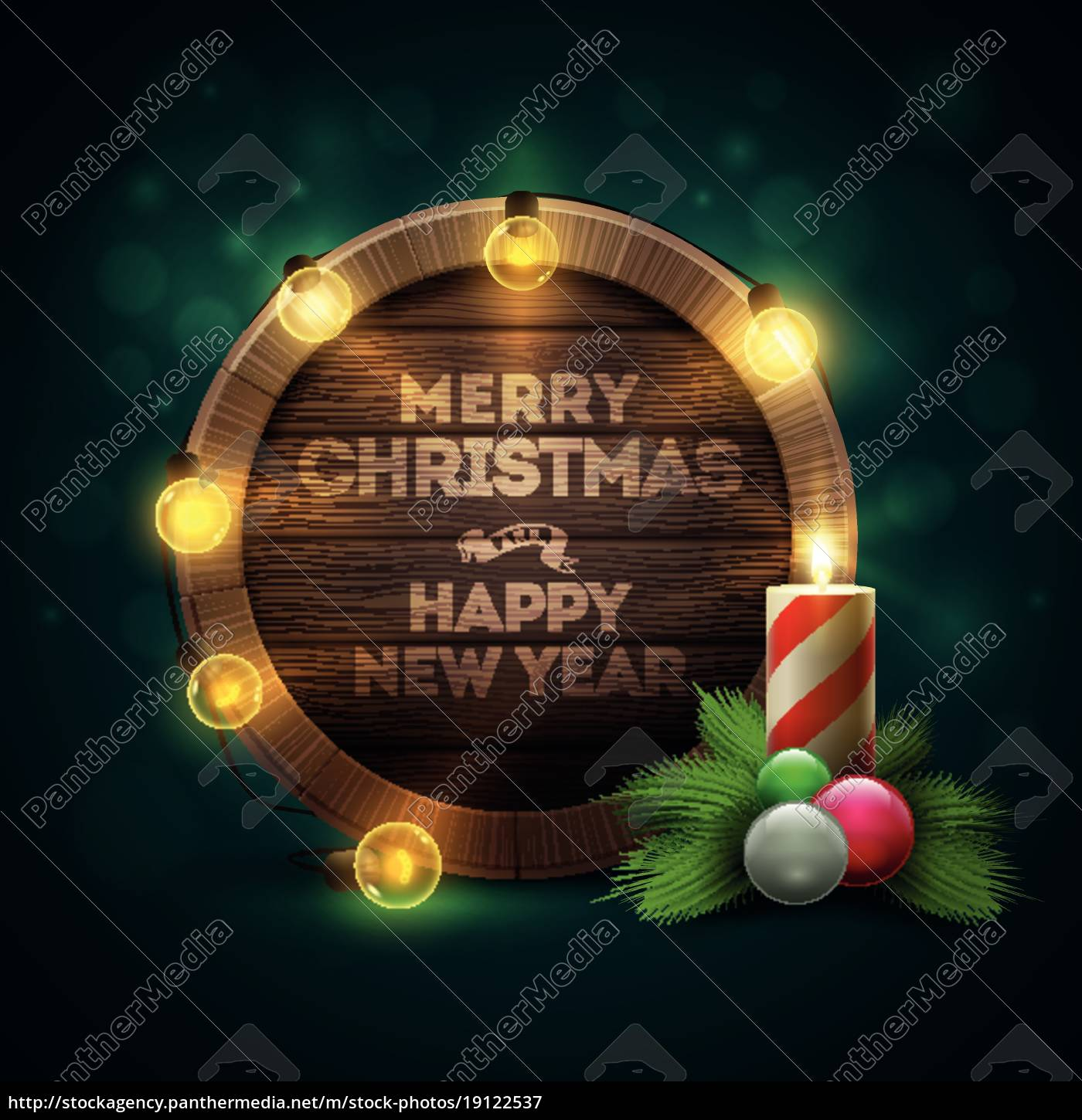 vector, illustration, of, wooden, christmas, and - 19122537