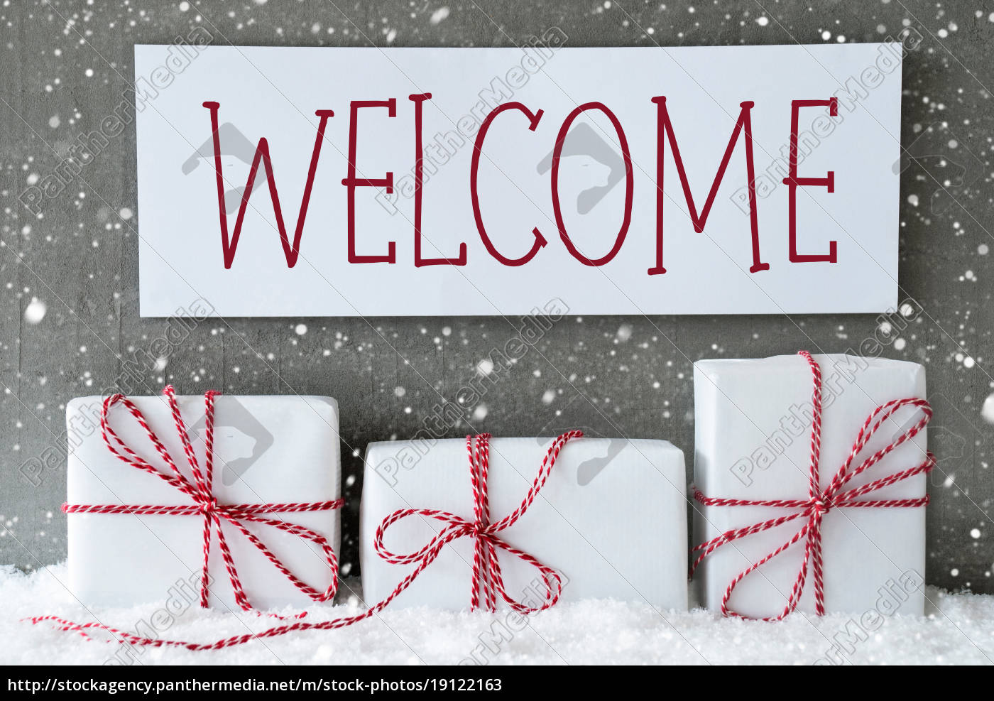 white, gift, with, snowflakes, , text, welcome - 19122163