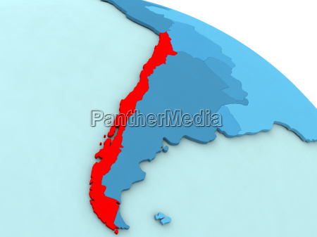 chile in red on blue globe
