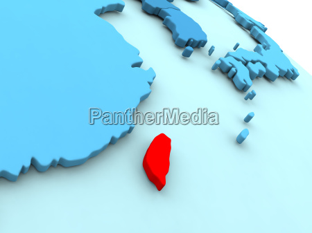 taiwan in red on blue globe