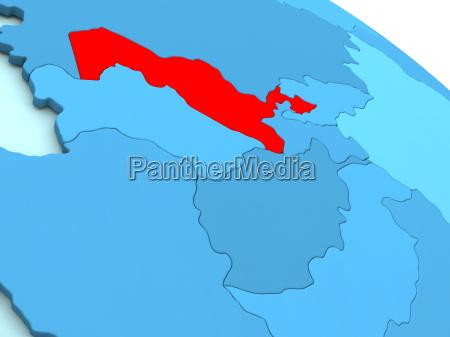 uzbekistan in red on blue globe