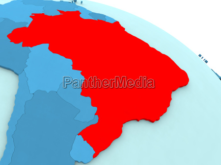 brazil in red on blue globe