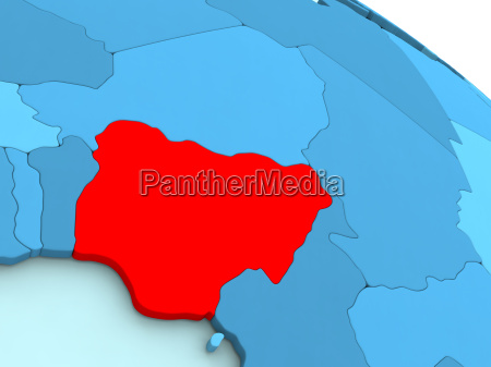 nigeria in red on blue globe