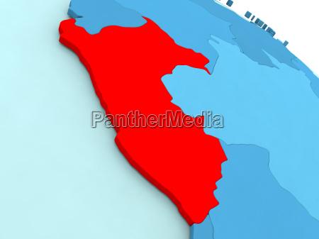 peru, in, red, on, blue, globe - 19123283