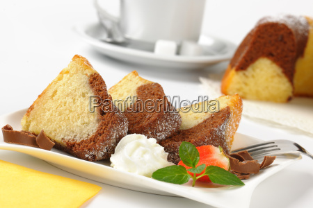 slices of marble bundt cake
