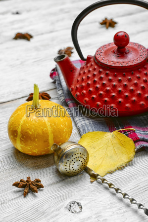 still life with autumn tea