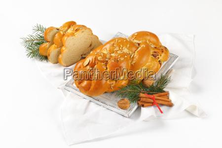 christmas sweet braided bread